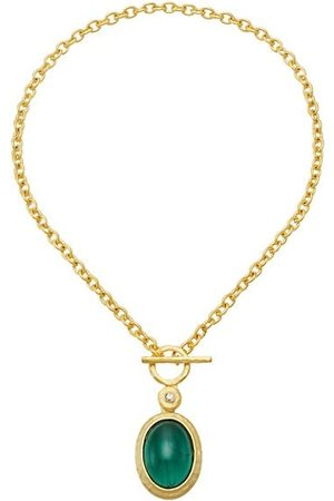 Kenneth Jay Lane Necklaces - Goldplated Faux Emerald Pendant Necklace