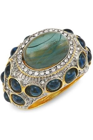 Kenneth Jay Lane Goldplated Crystal & Faux Sapphire Cocktail Ring