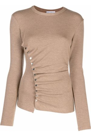 Paco rabanne Asymmetric-ruched fine-knit top