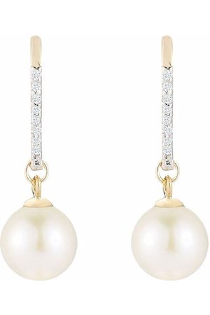Mateo Women Earrings - 14kt yellow single pearl diamond drop earrings