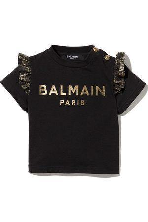 Balmain Baby Short Sleeve - Glitter logo ruffled T-shirt