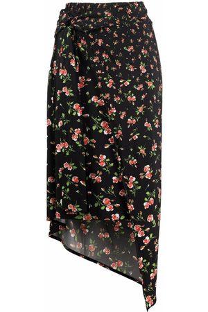 Paco rabanne Floral-print asymmetric skirt