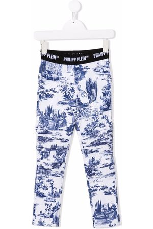 Philipp Plein Girls Leggings - En PLEIN air-print stretch-cotton leggings
