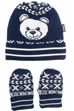 Moschino Baby Hats - Knitted hat and mittens set