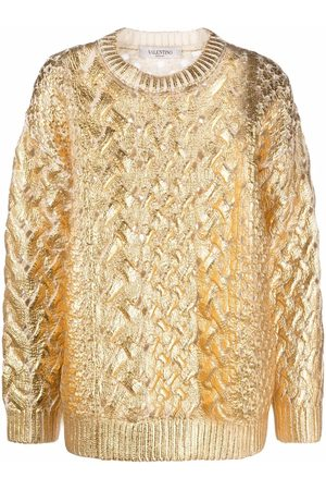 VALENTINO Metallized cable-knit jumper