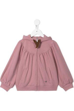 Il gufo Girls Hoodies - Gathered-detail zip-up hoodie
