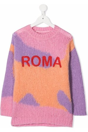 The Animals Observatory Girls Jumpers - Roma-embroidered colourblock knit jumper