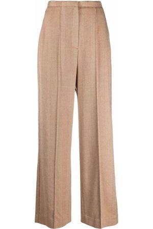 Totême High-waisted herringbone palazzo trousers