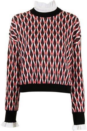 Paco rabanne Geometric-pattern merino-blend jumper