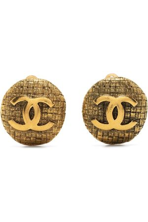 CHANEL 1980-1990s interwoven effect CC button earrings