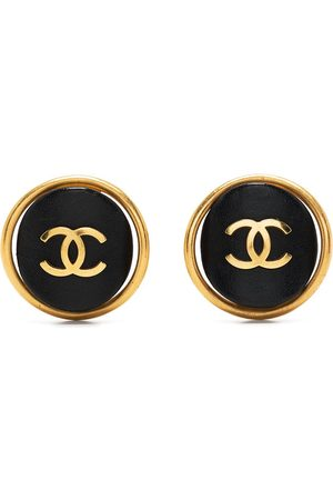 CHANEL 1993 CC curved button earrings