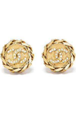 CHANEL 1980-1990s chain-edged CC button earrings