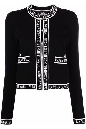 Karl Lagerfeld Logo-trimmed knitted cardigan