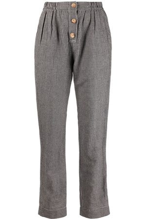 FORTE FORTE Checked high-waisted trousers