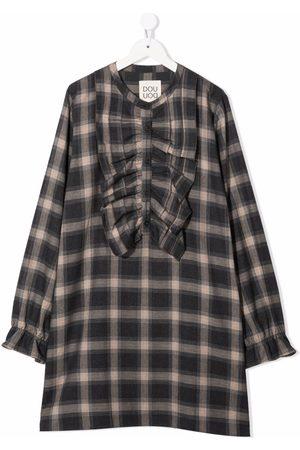 DOUUOD KIDS Girls Casual Dresses - Check-print ruffled dress
