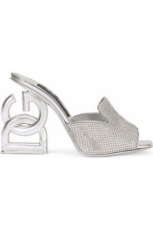 Dolce & Gabbana DG-heel gemstone-embellished mules