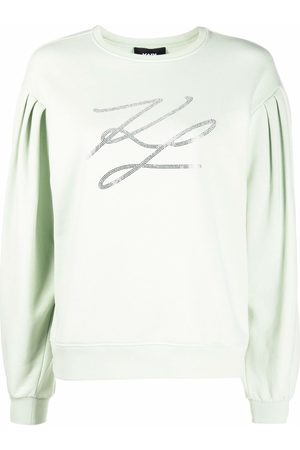 Karl Lagerfeld Embellished-logo puff-sleeved sweatshirt