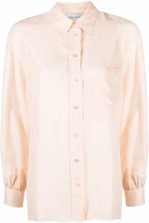 FORTE FORTE Gathered-detail silk shirt