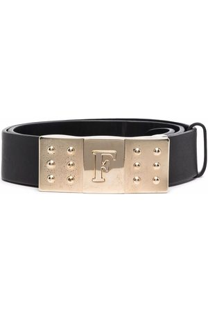 Gianfranco Ferré 1990s logo engraved buckled leather belt