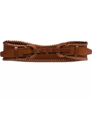 Gianfranco Ferré 1990s braided edge double-buckled leather belt