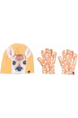 Molo Kids Fawn-print hat and glove set