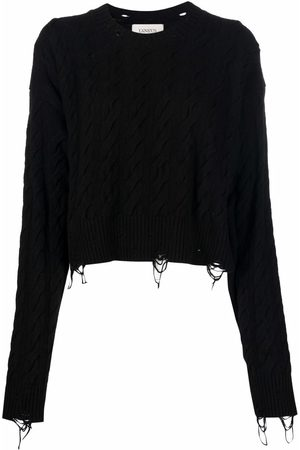 LANEUS Cable-knit distressed jumper