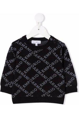 Emporio Armani Intarsia-logo knit jumper