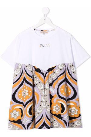 Emilio Pucci Floral-print colour block dress