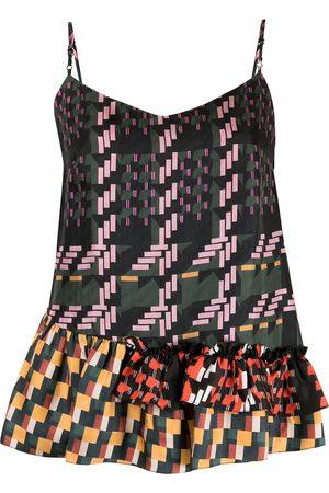 BIYAN Geometric asymmetric-hem camisole