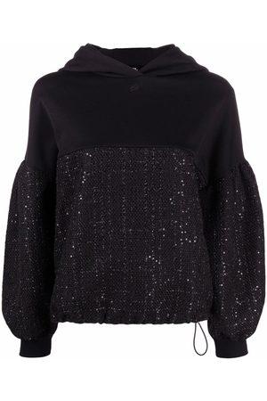 Karl Lagerfeld Tweed-panel hoodie