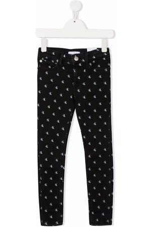 Calvin Klein Girls Slim - Logo-print slim-fit jeans