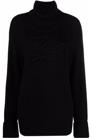 Karl Lagerfeld Appliqué-logo intarsia-knit jumper