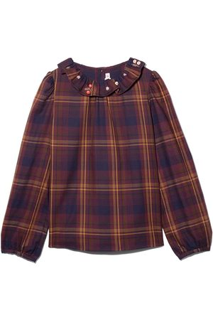 BONPOINT Girls Blouses - Embroidered collar checked blouse