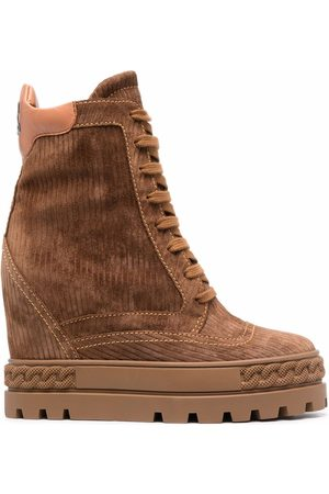 Casadei Corduroy lace-up boots