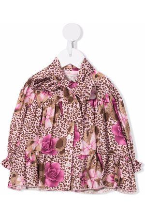 MISS BLUMARINE Mixed-print satin blouse