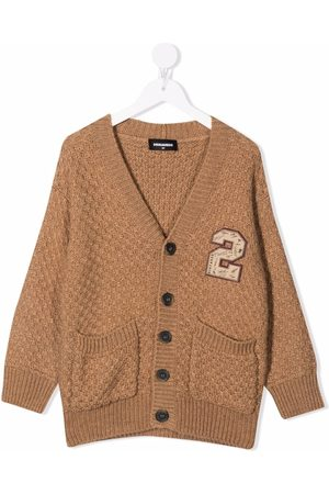 Dsquared2 Embroidered badge textured-knit cardigan