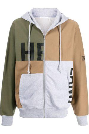 Helmut Lang Men Sweatshirts - Multi-panel drawstring hoodie
