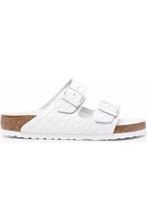 Birkenstock Crocodile-effect double-strap leather sandals