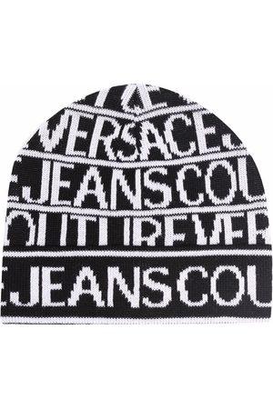 VERSACE Women Beanies - Intarsia knit-logo wool beanie