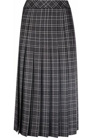 Moschino Checked high-waisted midi skirt