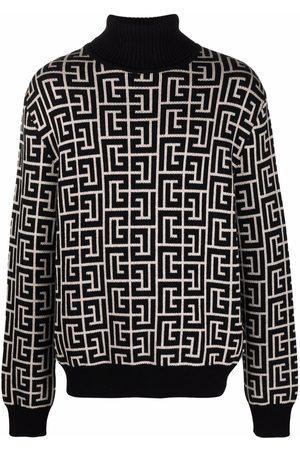 Balmain Intarsia monogram-knit jumper