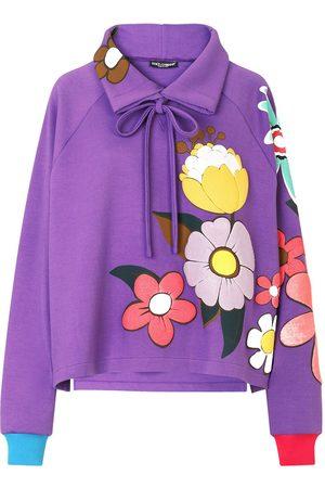 Dolce & Gabbana Bow-detail floral-print sweatshirt