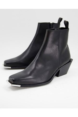 ASOS Men Boots - Cuban heeled chelsea boot in leather with metal toe detail