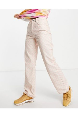 The Ragged Priest Women Boyfriend - High waisted baggy jeans in checkerboard