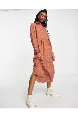 New Look Shirt midi dress in rust spot
