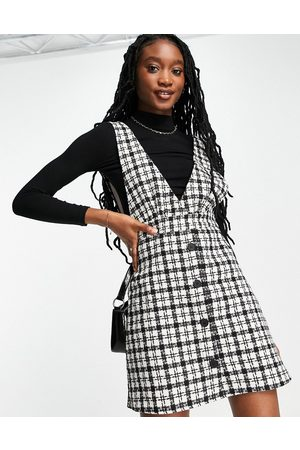 New Look Women Casual Dresses - Boucle check v neck pinny dress in