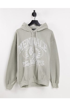 Mennace Pullover hoodie in light with boot camp print
