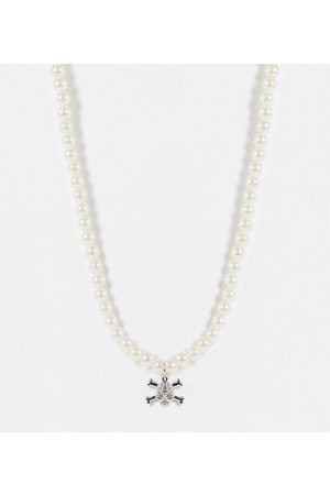 ASOS ASOS DESIGN Curve necklace with pearl and skull cross bones pendant