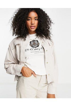 River Island Women Denim Jackets - Denim cropped workers jacket in cream