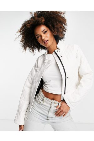 ASOS Women Leather Jackets - Quilted faux leather cropped jacket in cream